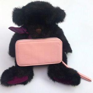Bombay Wilson Plush Teddy & Pink Zip Wristlet
